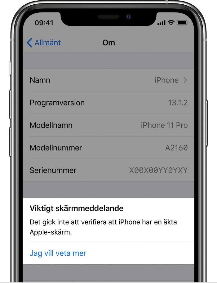 Det gick inte att verifiera att iPhone har en äkta Apple-skärm. Läs mer…